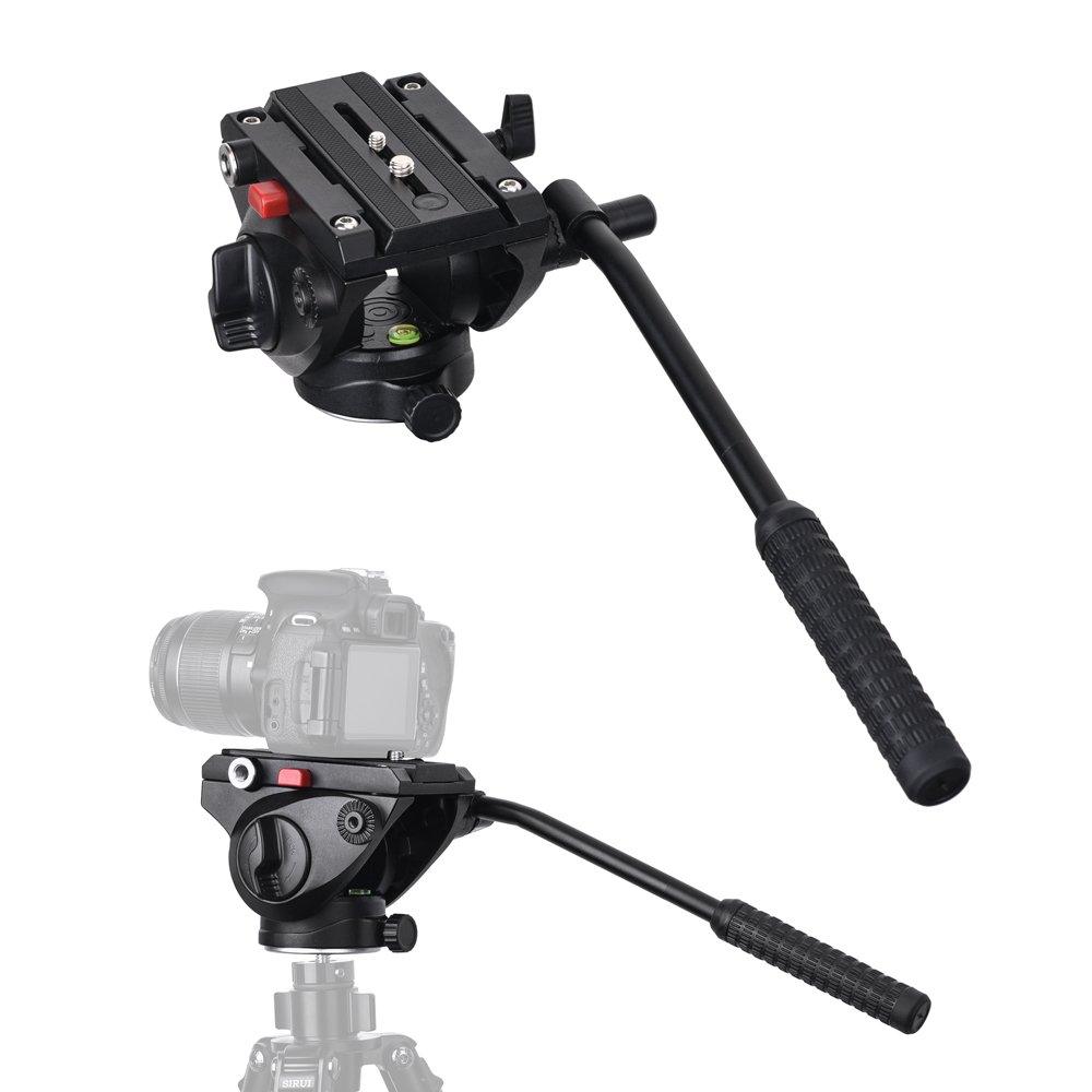 Commlite CM-FH01 Video Camera Tripod Fluid Drag Pan Head for Canon Nikon Sony Olympus Panasonic DSLR Camera,Tripods with 3/8'' and 1/4'' Mounting Screw