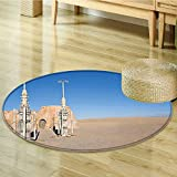 Round Rugs for Bedroom of Famous Town of Famous Movie Set on the Planet Wars Themed Brown Blue Circle Rugs for Living Room-Round 59''