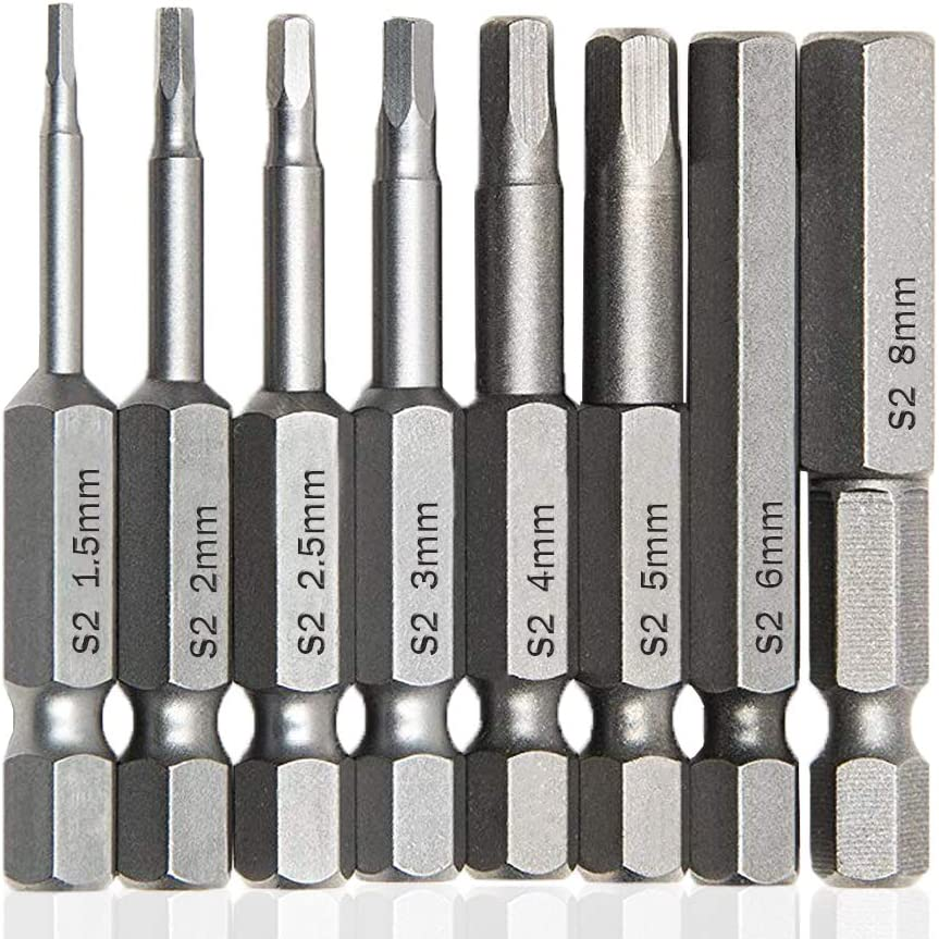 "1//4/"" Hex Shank 3mm Hexagon Tip Magnetic Screwdriver Bits 50mm Length 10pcs"