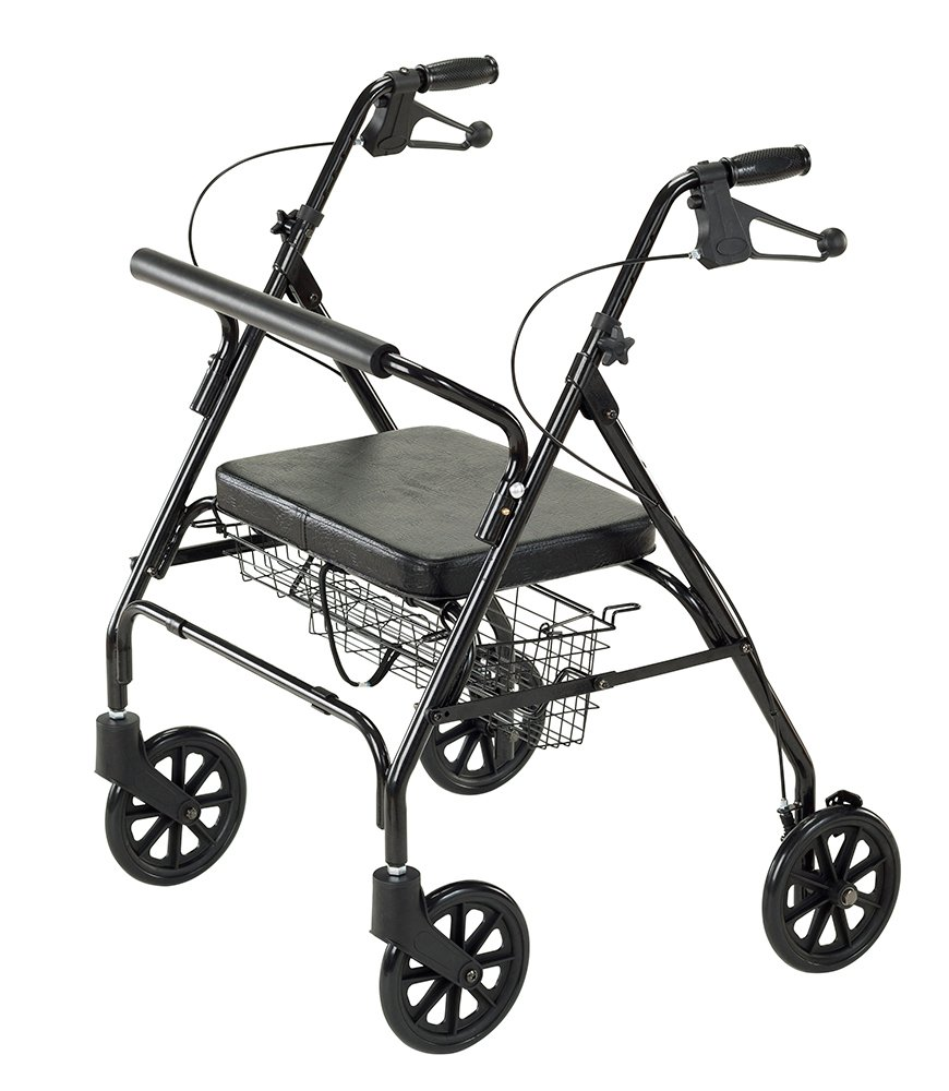 Cardinal Health CRL0009B Bariatric Rollator with Basket, 23.5 in. Seat Height, Supports 400 lbs.