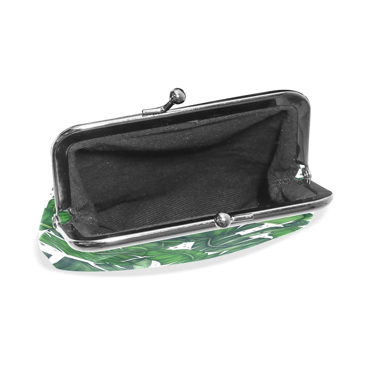 LALATOP Botanical Banana Leaves Womens Coin Pouch Purse wallet Card Holder Clutch Handbag