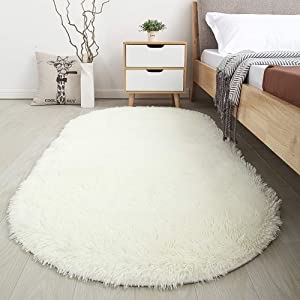 Softlife Fluffy Area Rugs for Bedroom 2.6' x 5.3' Oval Shaggy Floor Carpet Cute Rug for Girls Kids Room Living Room Home Decor, Creamy
