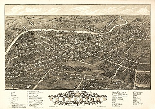 Youngstown, Ohio - (1882) - Panoramic Map (9x12 Art Print, Wall Decor Travel Poster)