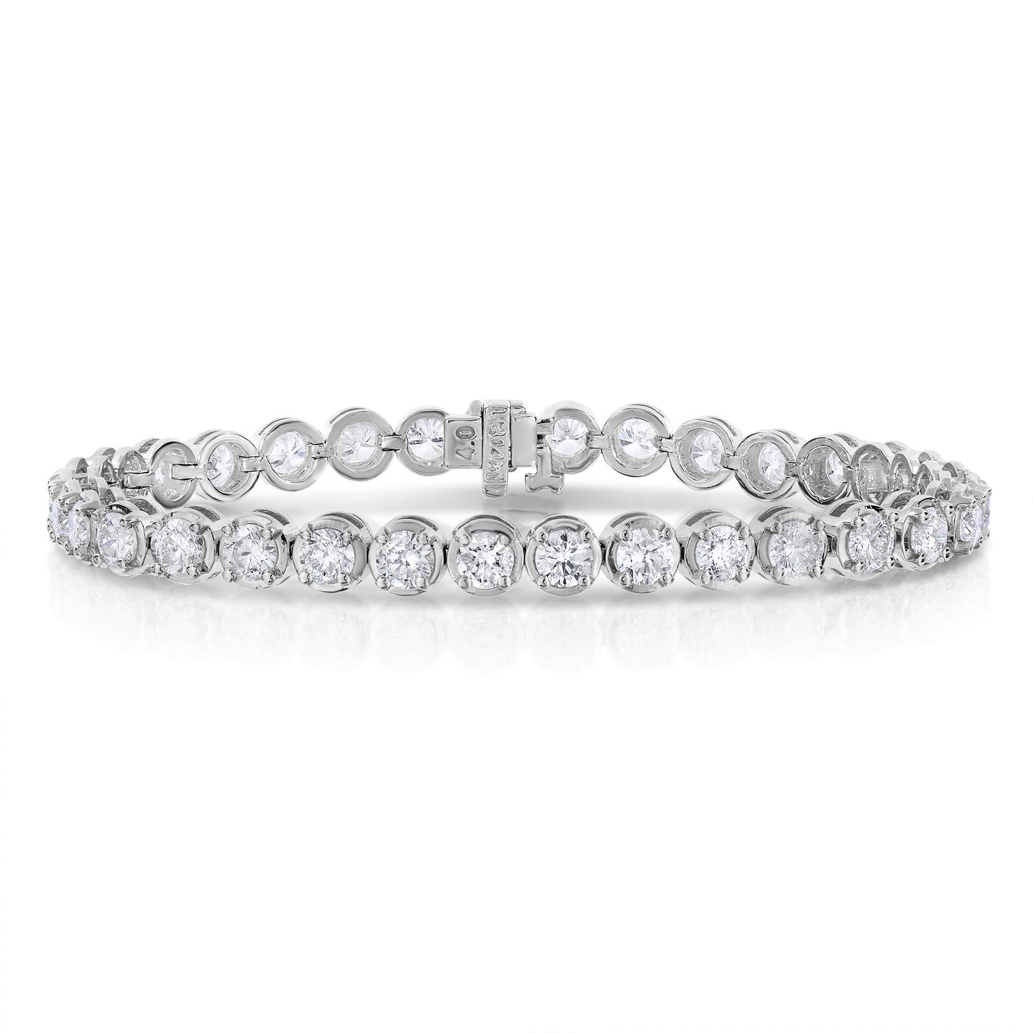 8 cttw Certified Classic Tennis Diamond Bracelet 14K White Gold SI2-I1 Clarity I-J Color by Vir Jewels