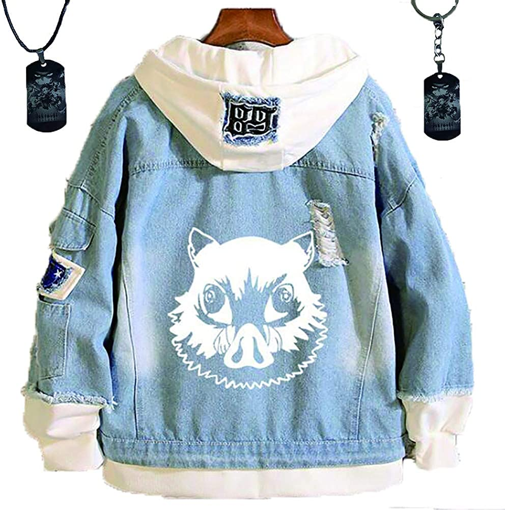 HLZG Demon Slayer Kimetsu No Yaiba Denim Jacket and Kamado Tanjirou Keychain Necklace