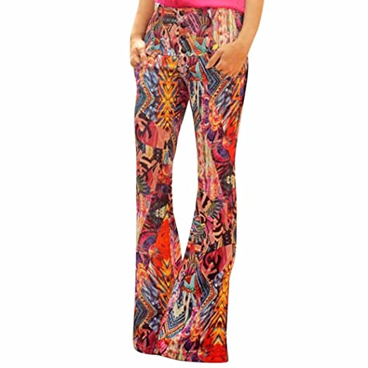 d24b15bc9060 Women's Boho Print Stretch High Waisted Wide Bell Leg Long Yoga Pants Flare  Palazzo Trousers (