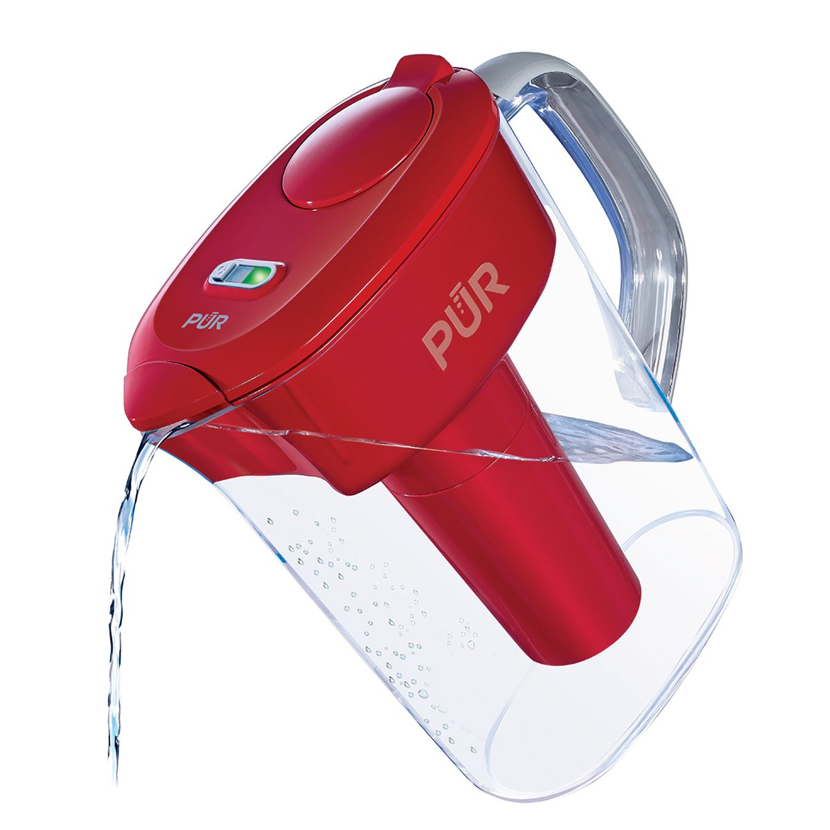 PUR 7 Cup Ultimate Water Filtration Pitcher with LED & Lead Reduction Filter, Red