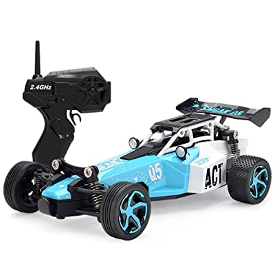SZJJX RC Cars,Remote Control Car High Speed 2.4GHz Radio Controlled Racing Drifting Vehicle 1/24 Scale 2WD RTR Electric Car Toy Buggy for Kids SJ24 Blue
