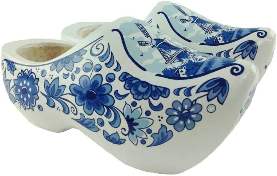"""Essence of Europe Gifts E.H.G Wooden Shoe Clogs Dutch Windmill Blue and White Design-6.5"""""""