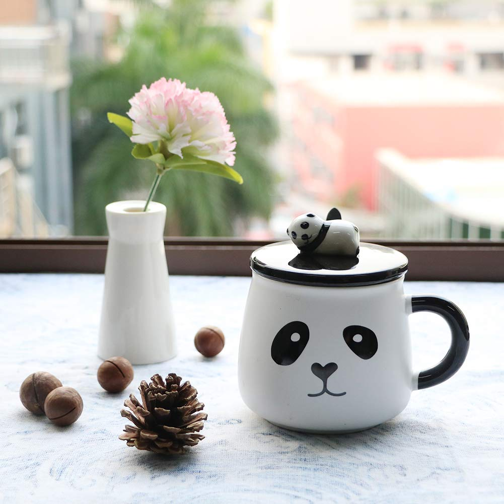 EPFamily Cute White 3D Panda Mug Funny Porcelain Coffee Mugs Set Small Ceramic Tea Cups Black with Lid and Spoon Gifts for Women Men Mom Grandma 14 Oz-C by EPFamily (Image #4)