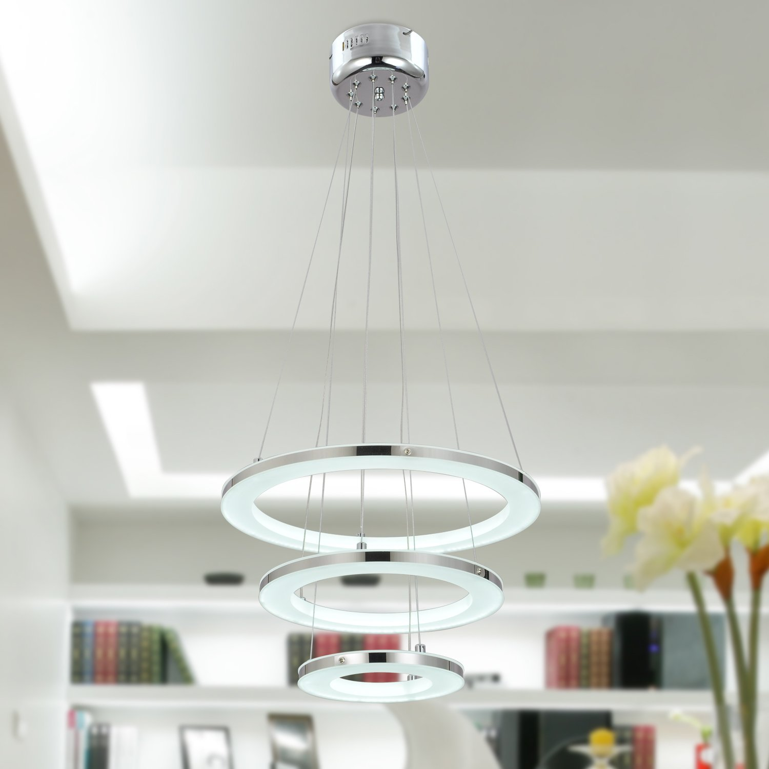 UNITARY BRAND Modern Nature White LED Acrylic Pendant Light With 3 Rings  Max 33W Chrome Finish     Amazon.com