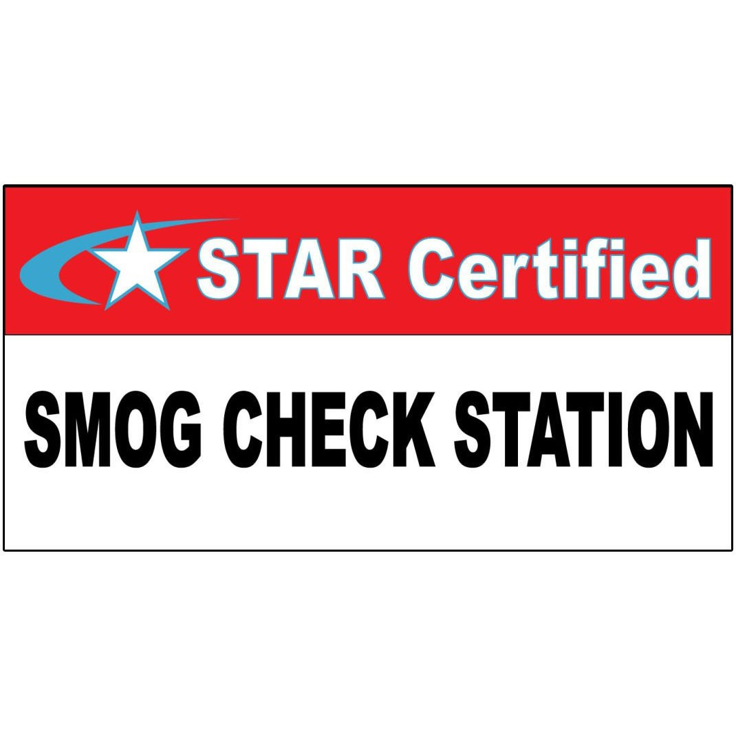 Amazon Star Certified Smog Check Station Red Black Decal