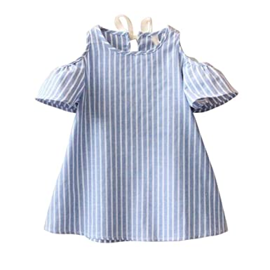 da9b34af4e46 ... Shoulder Princess Party Dress Kids Girl Cute Short Sleeve Striped Swing  Dresses Tutu Crewneck Dress Dancewear for 5-14 Years Old: Amazon.co.uk:  Clothing