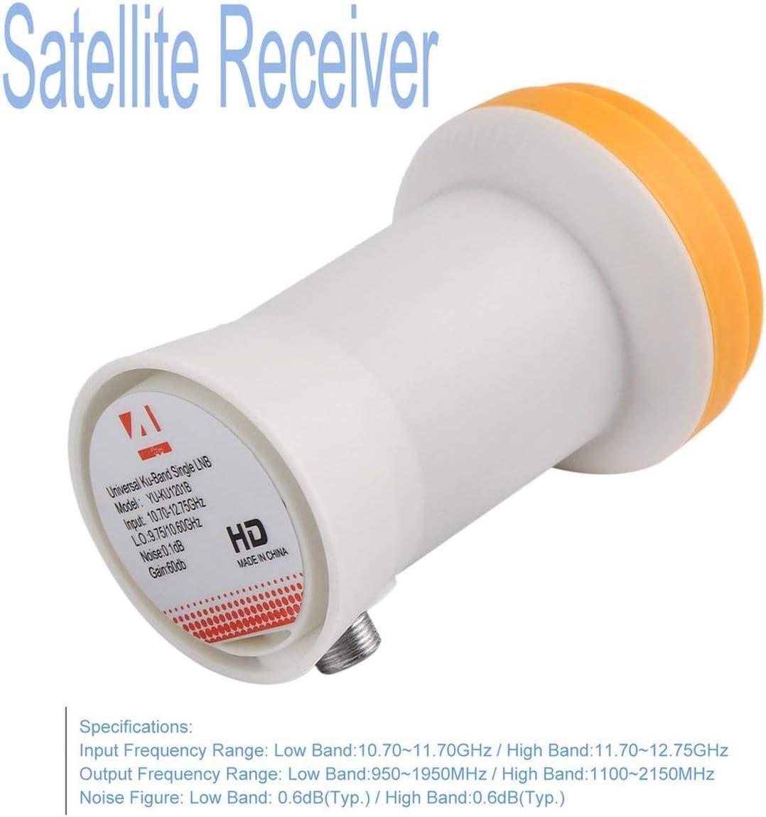 Detectorcatty Universal Ku-Band Single LNBF 9.75//10.6KU Dual Output Full HD Digital KU LNB Satellite Receiver High Band Low Band