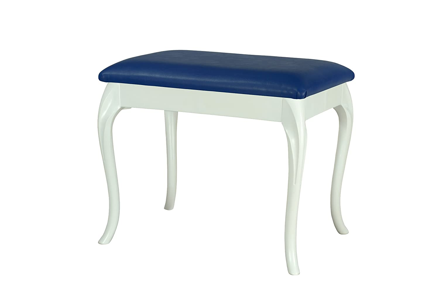 White large dressing table/foot stool with Cabriole style legs and Black Faux Leather Cushion High Street Design 2151