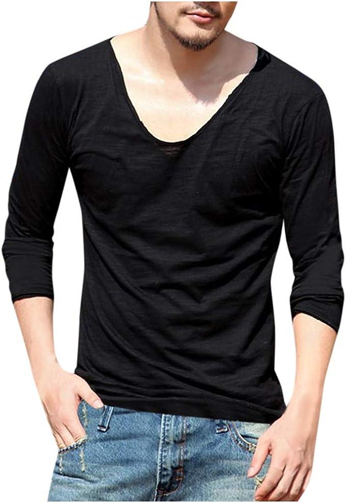 VPASS Hombre Camiseta de Manga Larga Moda Color sólido Cuello ...