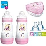 MAM Anti Colic Newborn Set Pretty Girl//260/Anti-Colic Bottles Pack of 2/MAM Skin with Soft Silicone Dummies Set of 2 Nip Dummy