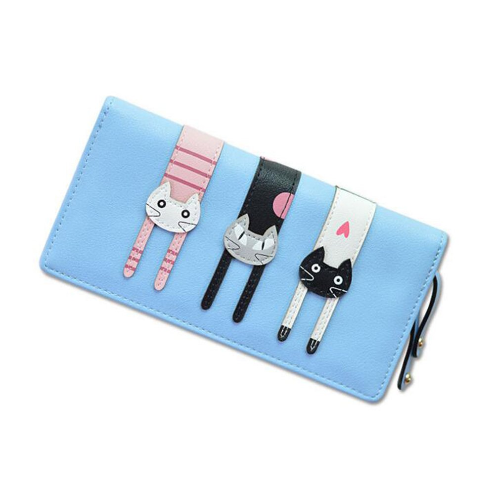 Light bluee Wallet female long section zipper wallet phone bag cute three cats large capacity wallet (color   bluee)
