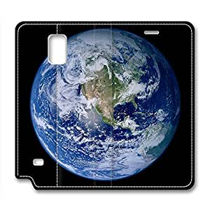 Globe Earth Design Brand New Samsung Note 4 Leather Case Earth Surface