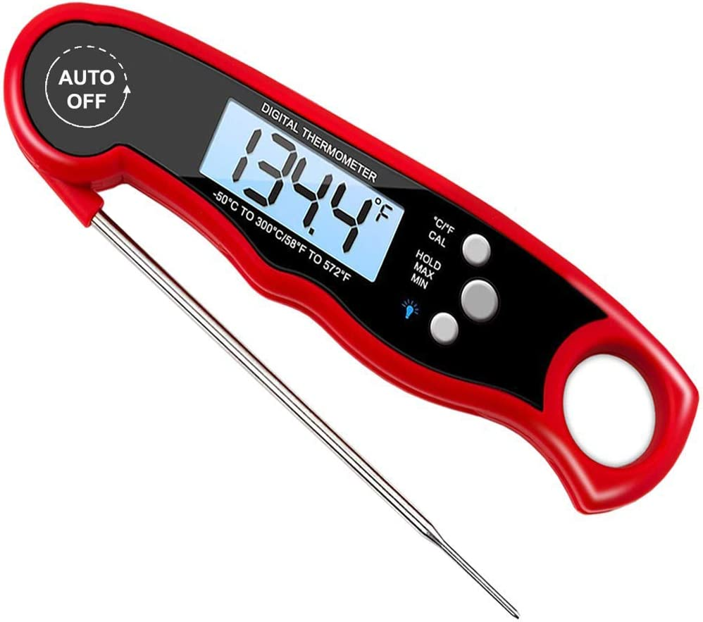 Digital Meat Thermometer, LAQRITE Waterproof Instant Read Thermometer for BBQ, Cooking and Kitchen