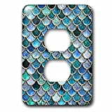 3dRose (lsp_272862_6) 2 Plug Outlet Cover (6) 2 Multicolor Trend Blue Luxury Elegant Mermaid Scales Glitter