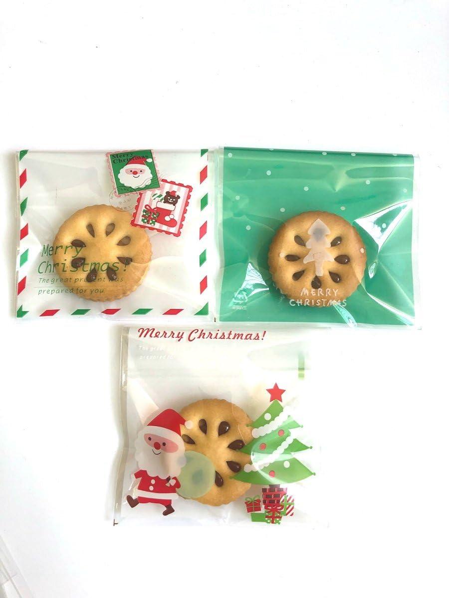 300pcs Bolsa de Caramelo Cajas de Tartas Cookie Panader/ía Biscuit Feliz Navidad Regalo Pl/ástico Big mouth