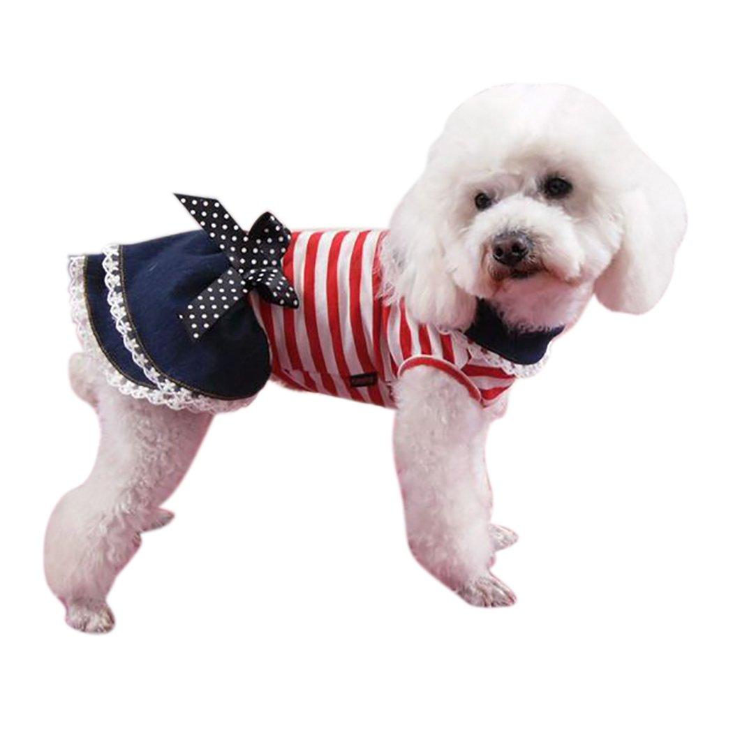 Legendog Vestido De Traje De Perro Vestido De Perro Vestido De Fiesta De Mascotas De Rayas Y Transpirable Vestido De Verano De Perro Vestido De Encaje De Animal Dom/éStico Para Fiestas