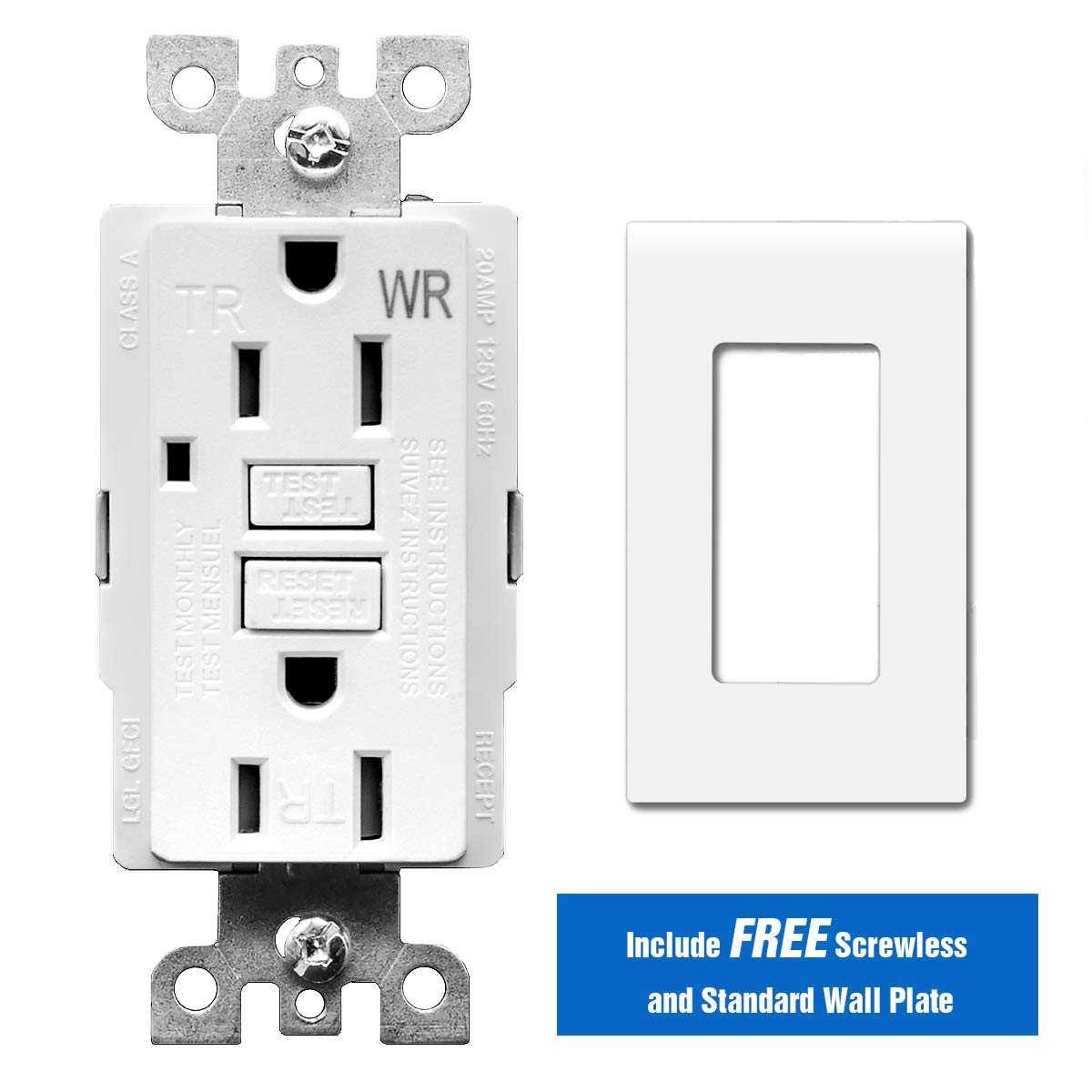Topele 15 Amp Gfci Outlet 125 Volt Weather Resistant Tamper Groundfault Circuitinterrupter Receptacles Must Be Wired Correctly Receptacle Indicators With Led Light 1 Wall Plate And Screws Included White