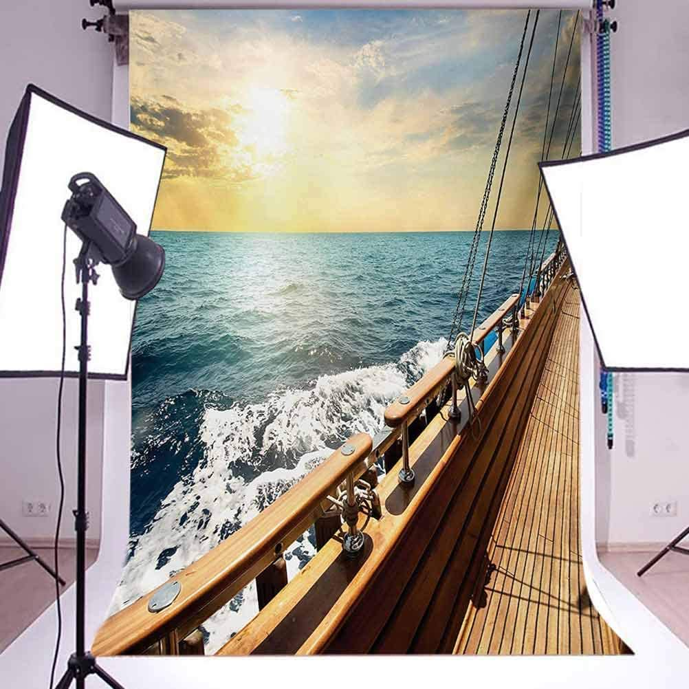 Sailboat in Mediterranean Waves at Sunset Sky Relax Yacht Wind Relax Scenery Background for Child Baby Shower Photo Vinyl Studio Prop Photobooth Photoshoot Nautical 10x12 FT Photography Backdrop