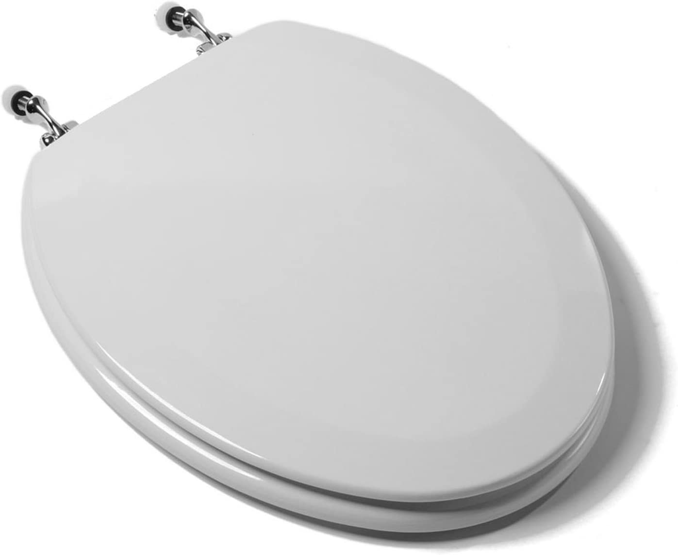 Bath Décor 1F1E6-00CH Premium Molded Wood Elongated Toilet Seat with Adjustable Metal Chrome Finish Hinge & OSG, White