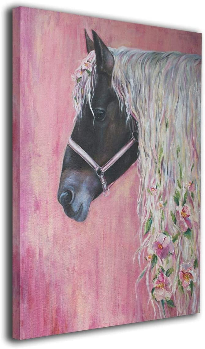 Ale-art Floral Pink Horse Girl Modern Oil Painting for Wall Decor Gallery Wrapped Giclee Canvas Print Wall Art On Canvas Ready to Hang 24'' X 36''