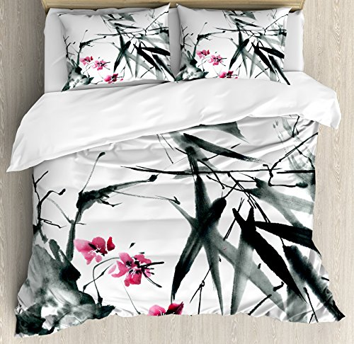 Japanese Duvet Cover Set King Size by Ambesonne, Natural Sacred Bamboo Stems Cherry Blossom Japanese Inspired Folk Print, Decorative 3 Piece Bedding Set with 2 Pillow Shams, Dark Green Fuchsia