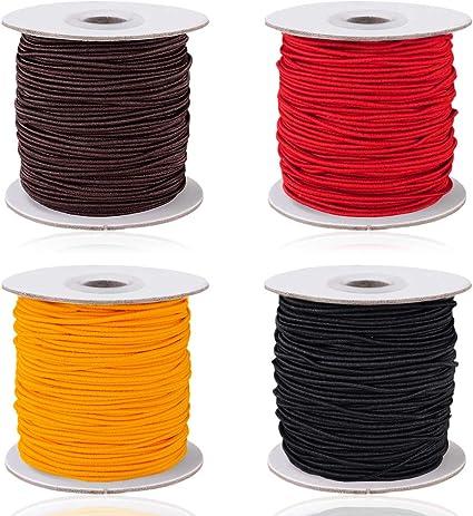 4 Colors 4 Rolls 0.8mm//1mm Elastic String Cord 50 Meters//Roll AIFUDA Elastic Thread Beading String Cord for DIY Jewelry Bracelet Making