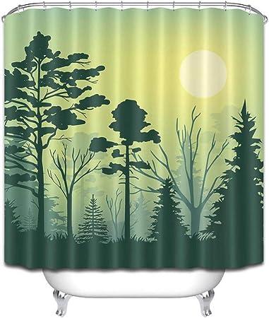 WZYMNYL 3D Sunset Mountain Black Rain Forest Tree Cortina De Ducha De Poliéster A Prueba De Agua Cortinas De Baño Tela Decoración De La Bañera: Amazon.es: Hogar
