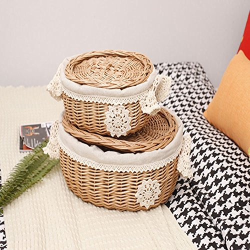Classic Stotage Wiilow Basket ,made By Hand 2pcs Wicker Willow Picnic Providing An Elegant Way For Your Lifestyle.