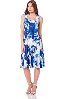 35c85fdf04 Roman Originals Women Multi Panel Jacquard Floral Dress - Ladies Sweetheart  Knee Length Sleeveless Garden Party Vintage…