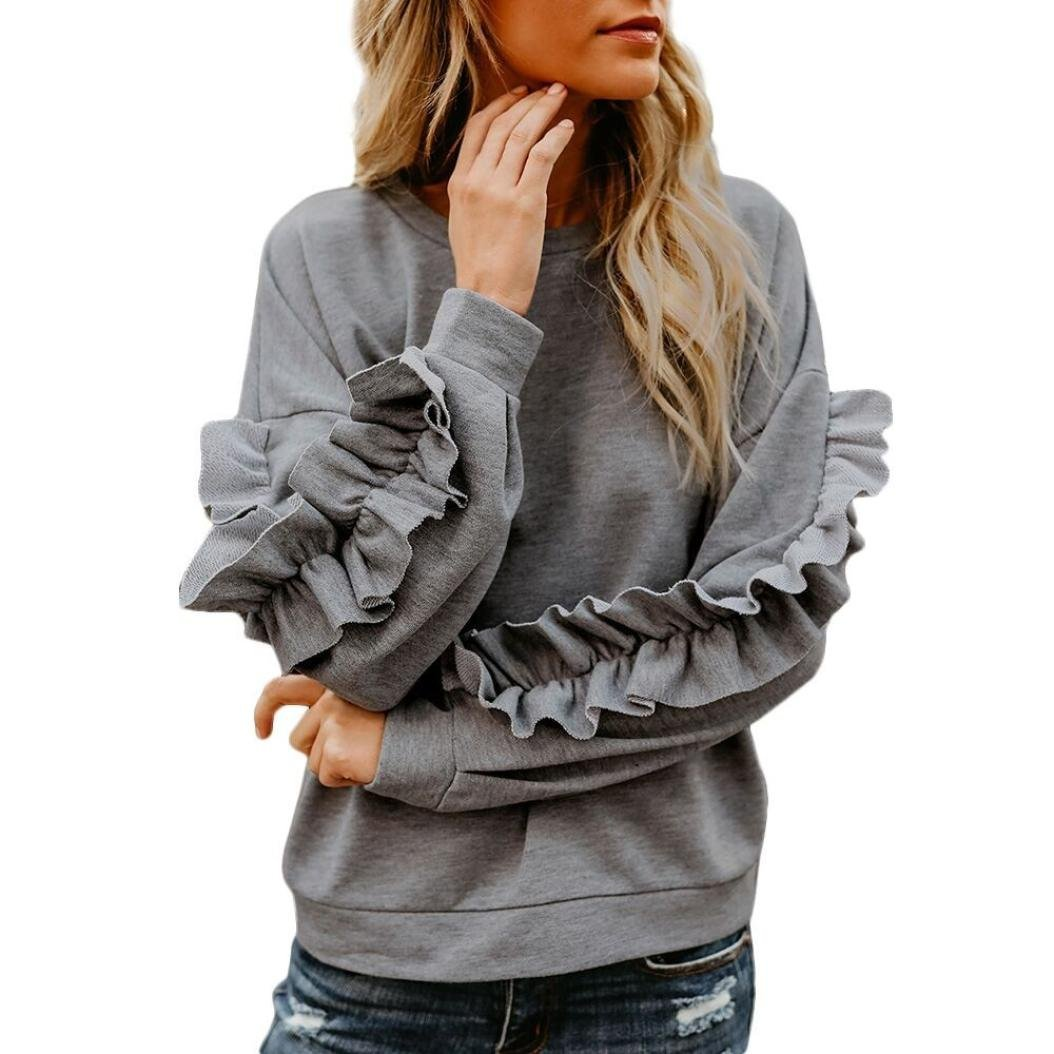 Women Casual Fall Clothes O Neck Ruffle Long Sleeve Solid Sweatshirt Slouchy Top iQKA0017