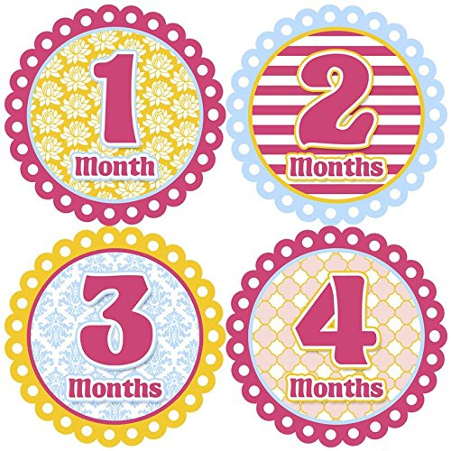 graphic relating to Baby Month Stickers Printable titled Youngster Regular monthly Stickers - Yellow, Blue, Crimson. Hand intended inside of the United states! A exceptionally choice print, vibrant and exciting.