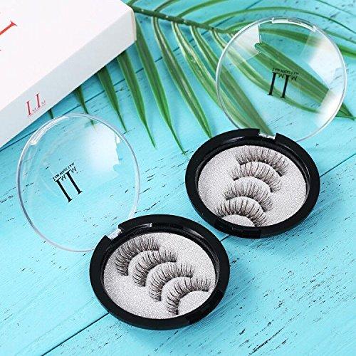 Magnetic Eyelashes 3 Magnets IMIM Magnetic False Eyelashes No Glue Magnetic Lashes Full Eye Natural Look Fake Eye Lashes Ultra Thin Reusable 3D Eyelashes (8 PCS/2 Pairs) by IMIM (Image #2)