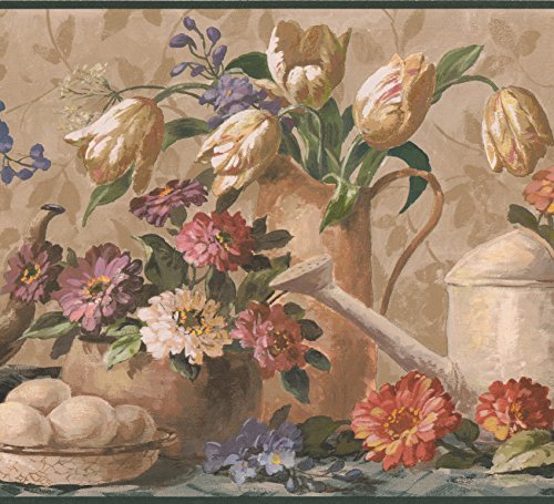 Flowers in Pots Vases Brown Extra Wide Wallpaper Border Retro Design, Roll 15' x 10.25'' ()