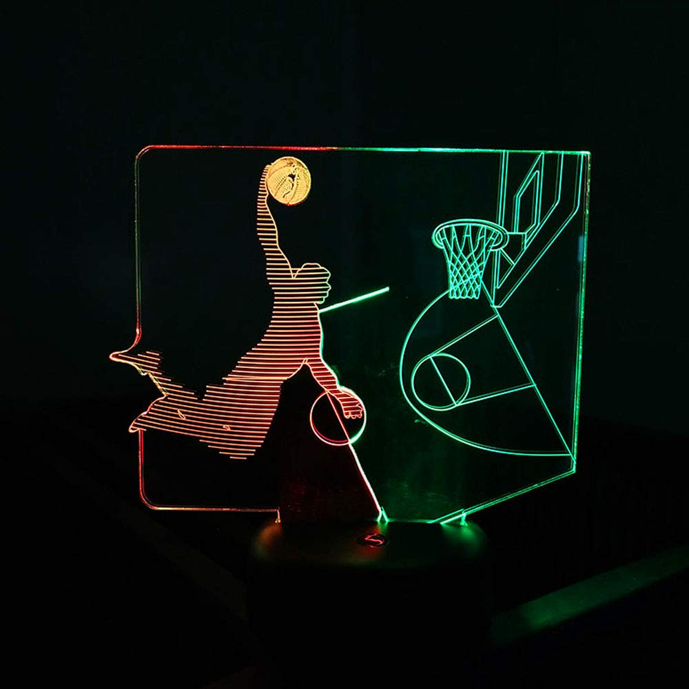 SZLTZK Christmas Gift Dual Color 3D LED Boy Slam Dunk Night Light 7 Color Touch Switch with Battery Compartment USB Cable Table Desk Baby Nursery Lamp Home Decor Birthday Present for Kids Boy Girl by SZLTZK (Image #4)