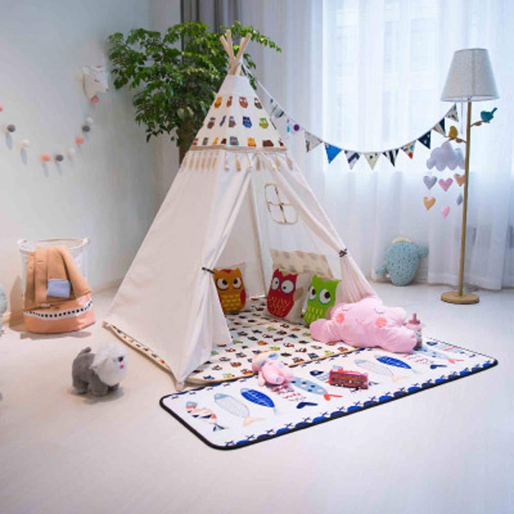 B  GQCDQ Tente Indienne de Jeu d'enfants de, Tente de Jeu d'enfants de Toile de Coton d'enfants de Playhouse Indienne pour Le chÂteau de Jeu d'intérieur ou extérieur 120x120x156cm-B