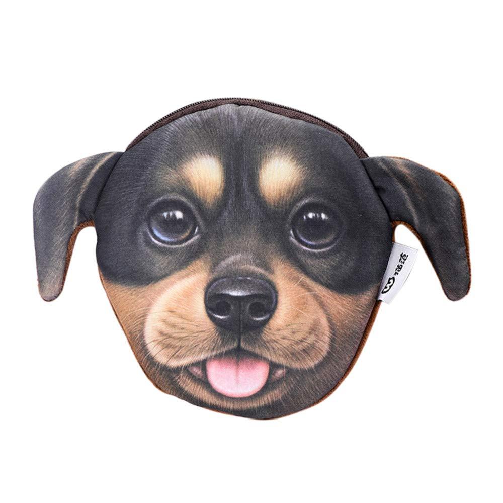 Cinhent Wallet 3D Printing Cat Fans Dog Head Zero Purse Creative Coin Bag Daily (E)