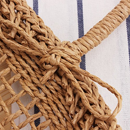 sac en à main à Sac demi Sac de sac paille sac tout bambou lune tout à femmes de fourre à plage sac tissé main les Camel de fourre de tressé voyage bandoulière yunt pour la bandoulière OEAqdA6wx