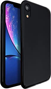 "Molzar [Shiny Series] iPhone Xr Case, UV Glossy Finish Grip, Hard Plastic PC with Soft Microfiber Cloth Lining Cushion, Compatible with Apple iPhone Xr, 6.1"", Black"