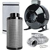 TopoLite 4″ 6″ 8″ Inline Fan Carbon Air Filter Ducting Combo for Grow Tent Exhanst Kit and Hydroponic Growing System (6″ Carbon Filter Combo)