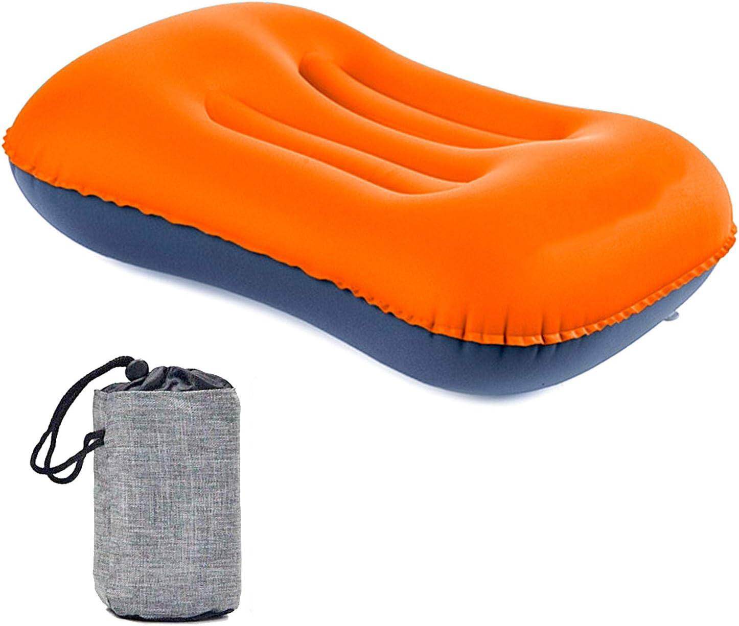Almohada de viaje Lingye Coj/ín de camping Almohada de playa Almohada Coj/ín inflable Tambi/én inflable para acampar Avi/ón al aire libre o bolsa de regalo de viaje naranja