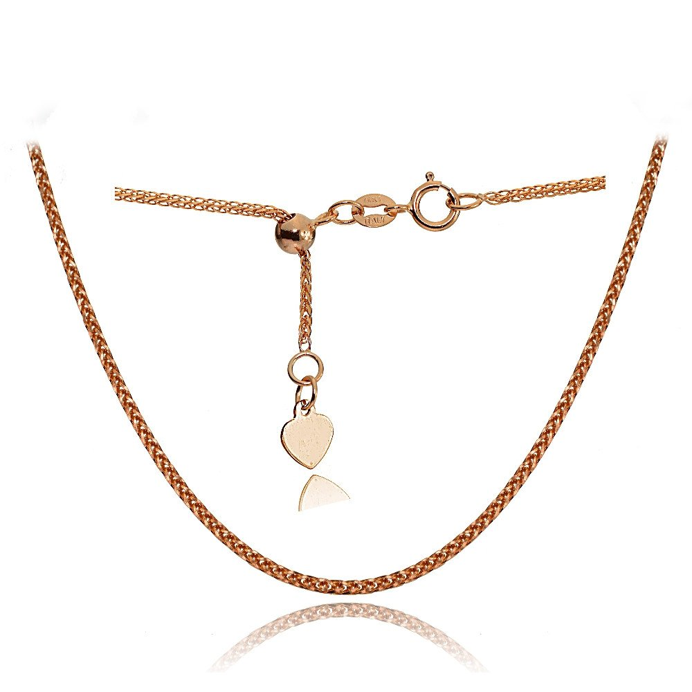 Bria Lou 14k Rose Gold .8mm Italian Spiga Wheat Adjustable Chain Anklet, 9-11 Inches