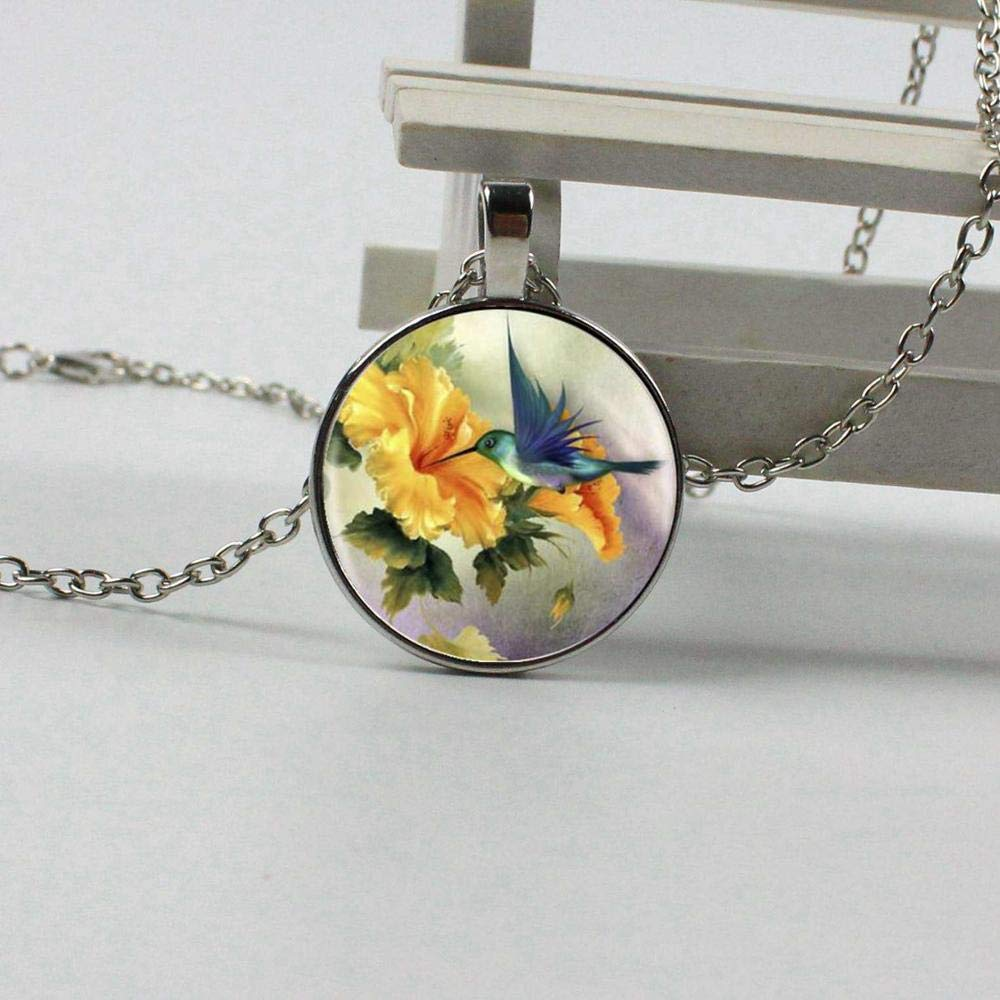 Necklace 2018 Christmas Gift For Women Mens necklace Blue Bird Jewel Bird Necklace On A Branch Yellow Glass Dome Pendant Necklace