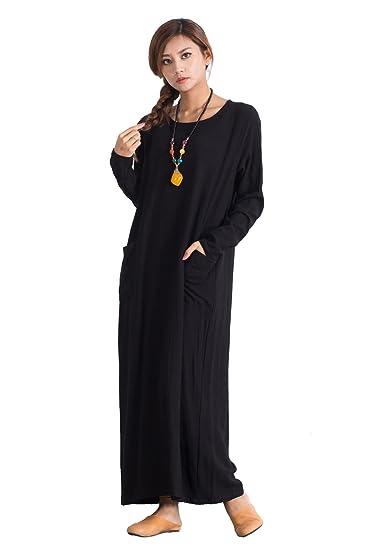 dfd7cf753d0 Image Unavailable. Image not available for. Color  Sellse Women s Linen  Cotton Maxi Dress Long Caftan Plus Size ...